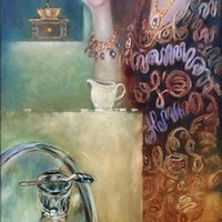 THE PLEASURE OF COFFEE, 40x100cm oil,canvas 2017