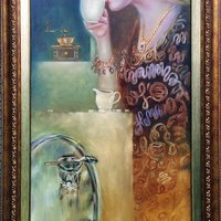 THE PLEASURE OF COFFEE, 40x100cm., oil,canvas 2017, 3800.-EUR