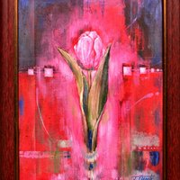 Tulip on Red Background 450€